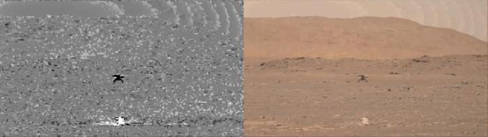 增强视频展示Ingenuity直升机在火星地表飞行期间扬起的灰尘